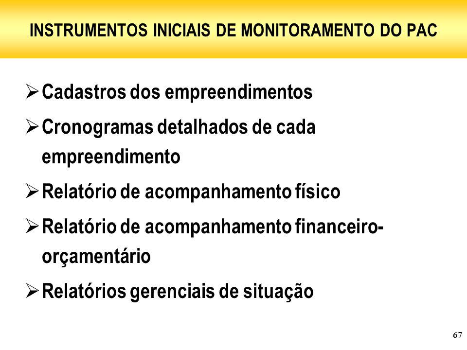 67 INSTRUMENTOS INICIAIS DE MONITORAMENTO DO PAC  Cadastros dos empreendimentos  Cronogramas detalhados de cada empreendimento  Relatório de acompanhamento físico  Relatório de acompanhamento financeiro- orçamentário  Relatórios gerenciais de situação