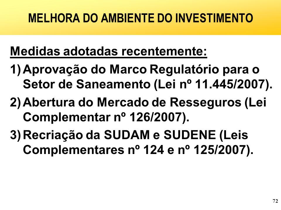 72 MELHORA DO AMBIENTE DO INVESTIMENTO Medidas adotadas recentemente: 1)Aprovação do Marco Regulatório para o Setor de Saneamento (Lei nº 11.445/2007).