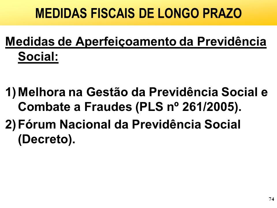 74 MEDIDAS FISCAIS DE LONGO PRAZO Medidas de Aperfeiçoamento da Previdência Social: 1)Melhora na Gestão da Previdência Social e Combate a Fraudes (PLS nº 261/2005).