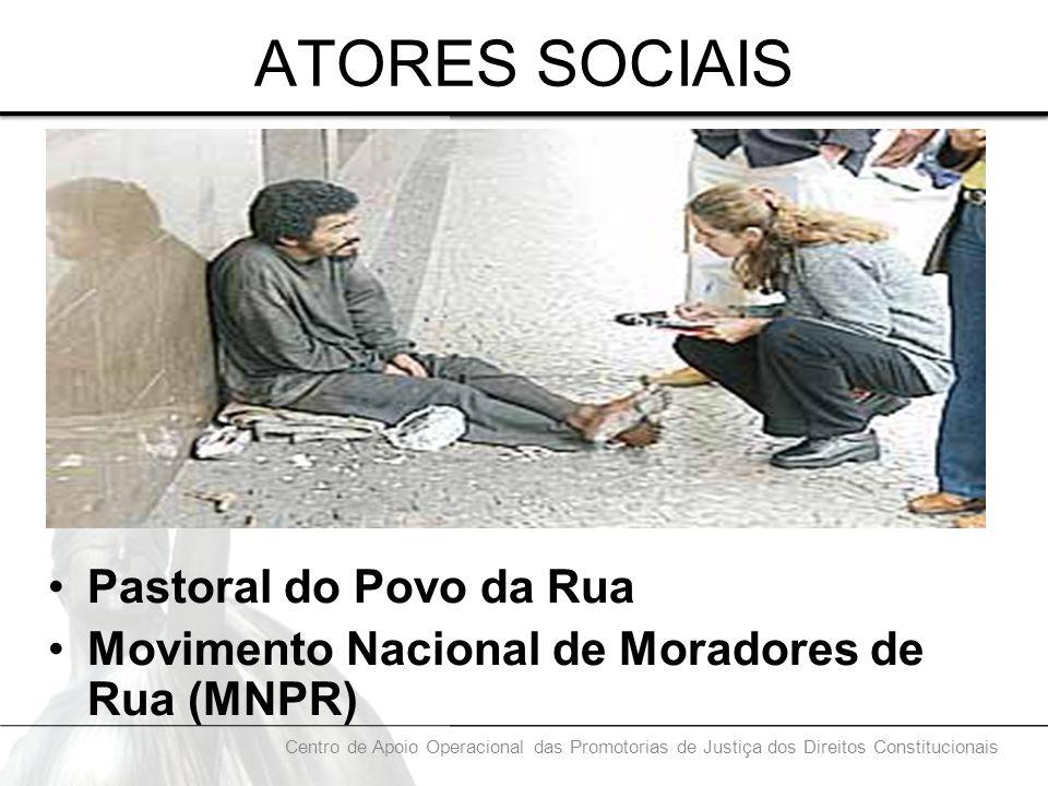 ATORES SOCIAIS Pastoral do Povo da Rua Movimento Nacional de Moradores de Rua (MNPR) Centro de Apoio Operacional das Promotorias de Justiça dos Direit