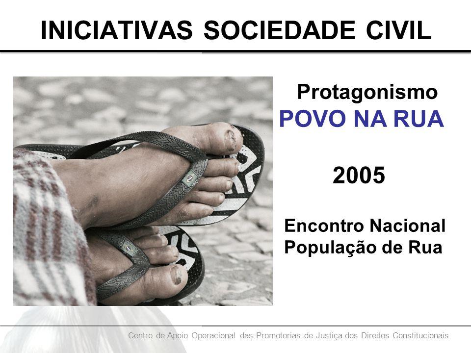 INICIATIVAS SOCIEDADE CIVIL Protagonismo POVO NA RUA 2005 Encontro Nacional População de Rua Centro de Apoio Operacional das Promotorias de Justiça do