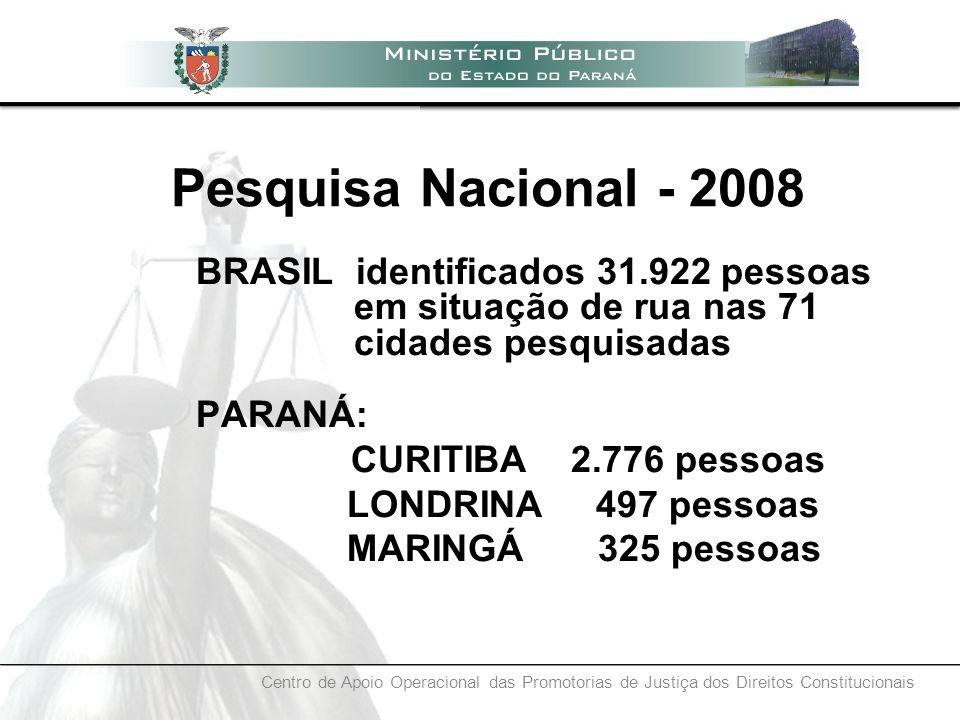Centro de Apoio Operacional das Promotorias de Justiça dos Direitos Constitucionais BRASIL identificados 31.922 pessoas em situação de rua nas 71 cida