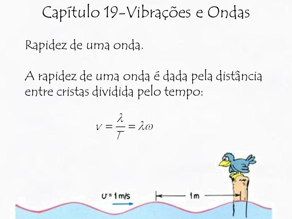 Capítulo 19-Vibrações e Ondas Rapidez de uma onda. A rapidez de uma onda é dada pela distância entre cristas dividida pelo tempo: