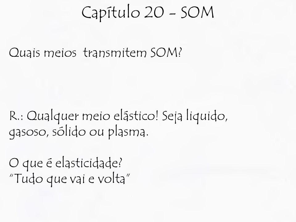 """Capítulo 20 - SOM Quais meios transmitem SOM? R.: Qualquer meio elástico! Seja liquido, gasoso, sólido ou plasma. O que é elasticidade? """"Tudo que vai"""
