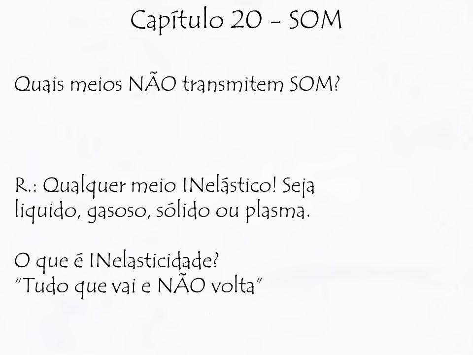 Capítulo 20 - SOM Quais meios NÃO transmitem SOM.R.: Qualquer meio INelástico.