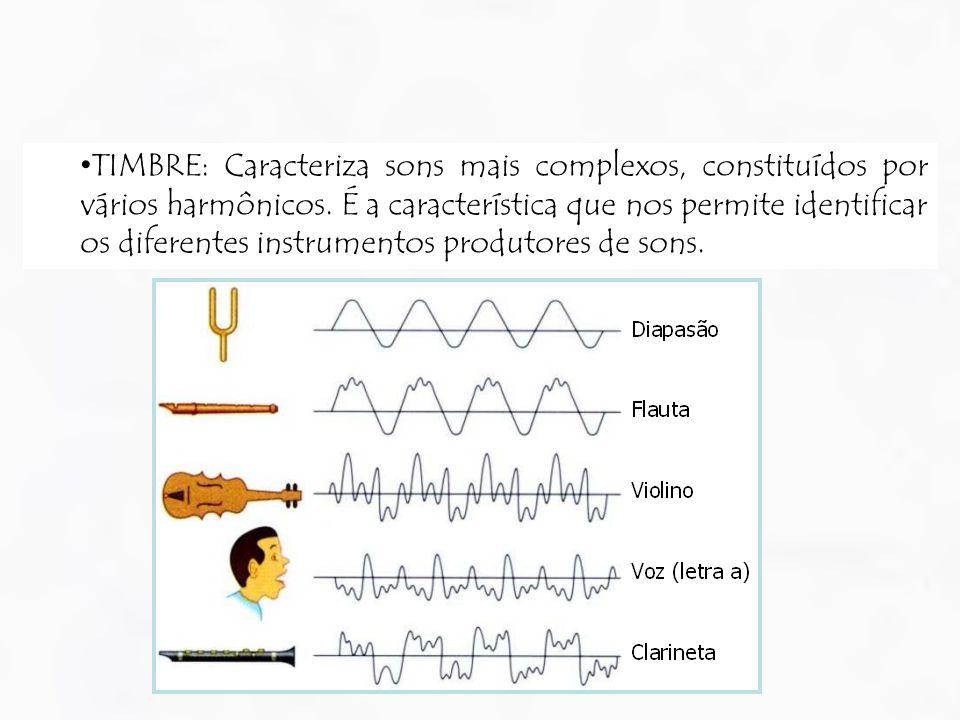 TIMBRE: Caracteriza sons mais complexos, constituídos por vários harmônicos. É a característica que nos permite identificar os diferentes instrumentos
