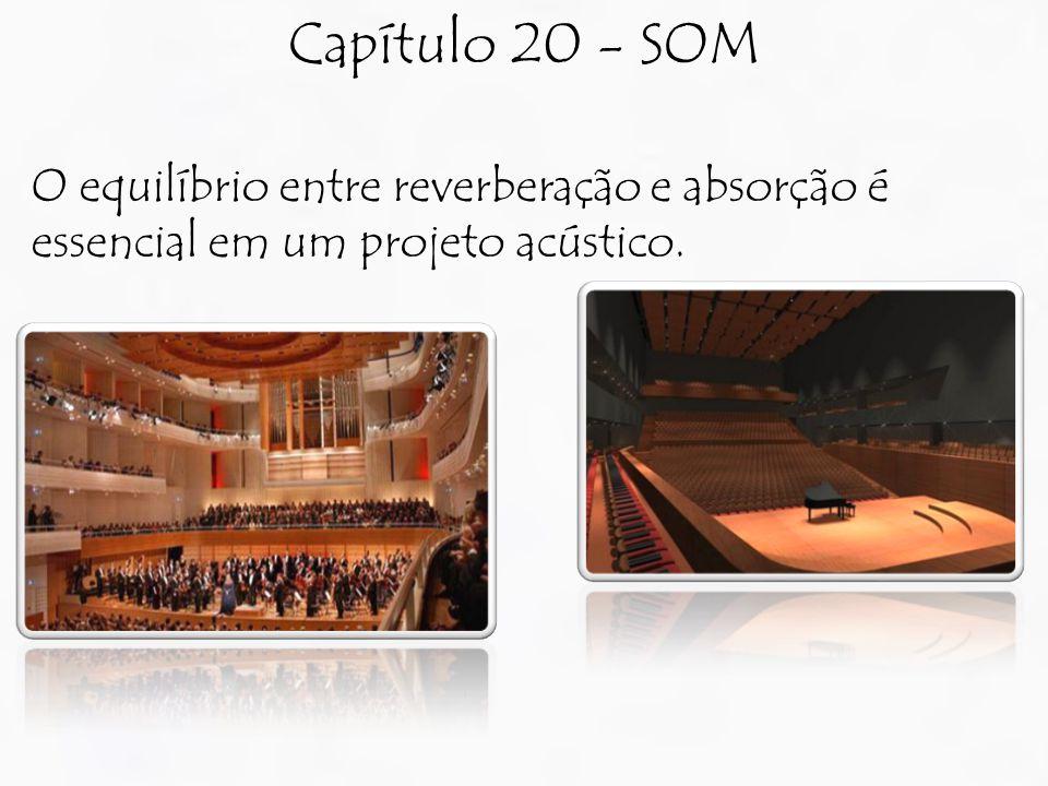 Capítulo 20 - SOM O equilíbrio entre reverberação e absorção é essencial em um projeto acústico.