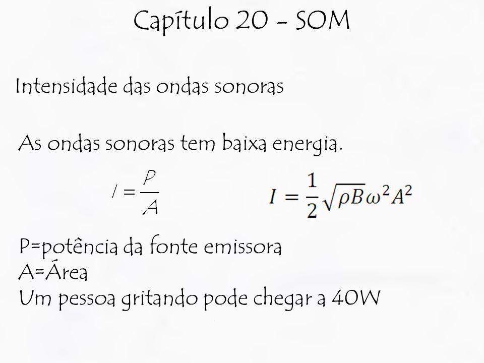 Capítulo 20 - SOM Intensidade das ondas sonoras As ondas sonoras tem baixa energia. P=potência da fonte emissora A=Área Um pessoa gritando pode chegar