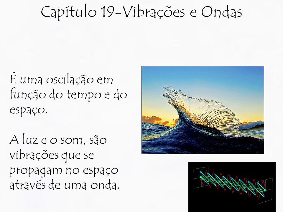 Capítulo 19-Vibrações e Ondas É uma oscilação em função do tempo e do espaço. A luz e o som, são vibrações que se propagam no espaço através de uma on