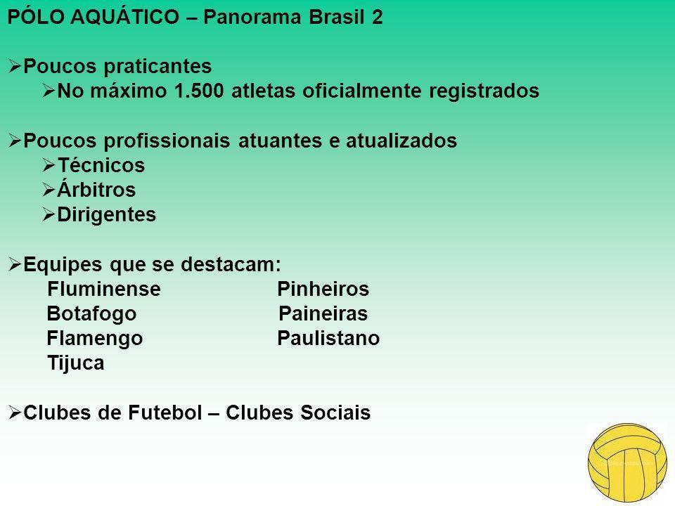 PÓLO AQUÁTICO – Panorama Brasil 2  Poucos praticantes  No máximo 1.500 atletas oficialmente registrados  Poucos profissionais atuantes e atualizado