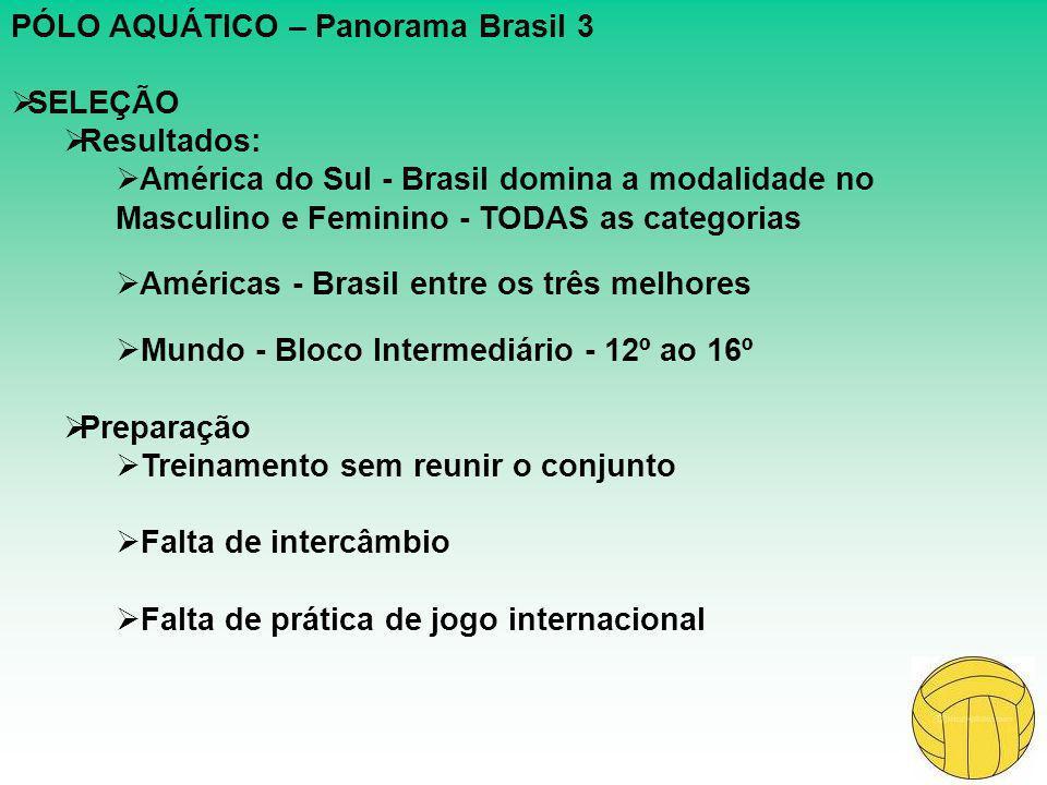 PÓLO AQUÁTICO – Panorama Brasil 3  SELEÇÃO  Resultados:  América do Sul - Brasil domina a modalidade no Masculino e Feminino - TODAS as categorias