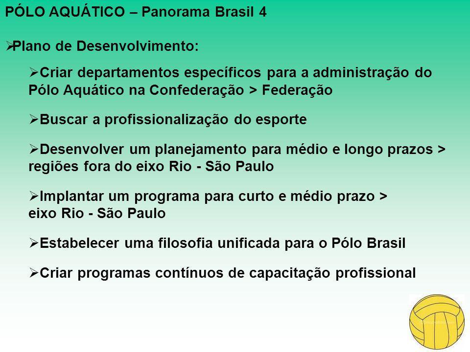 PÓLO AQUÁTICO – Panorama Brasil 4  Plano de Desenvolvimento:  Criar departamentos específicos para a administração do Pólo Aquático na Confederação