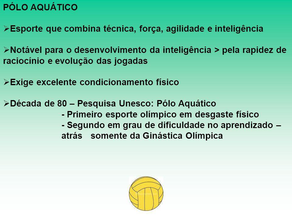 PÓLO AQUÁTICO  Esporte que combina técnica, força, agilidade e inteligência  Notável para o desenvolvimento da inteligência > pela rapidez de racioc
