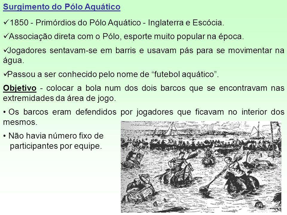 Surgimento do Pólo Aquático 1850 - Primórdios do Pólo Aquático - Inglaterra e Escócia. Associação direta com o Pólo, esporte muito popular na época. J