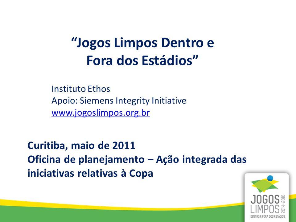 Jogos Limpos Dentro e Fora dos Estádios Instituto Ethos Apoio: Siemens Integrity Initiative www.jogoslimpos.org.br Curitiba, maio de 2011 Oficina de planejamento – Ação integrada das iniciativas relativas à Copa