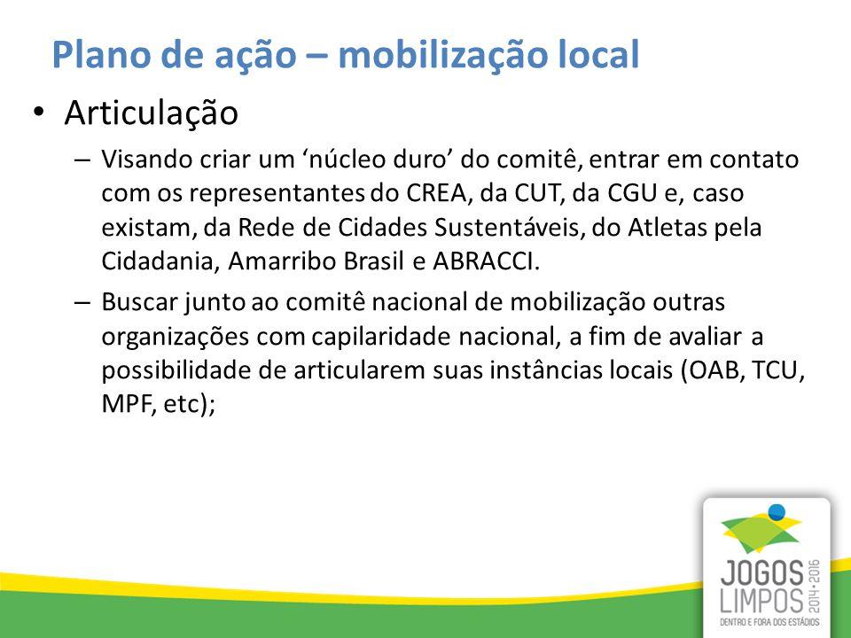 Plano de ação – mobilização local Articulação – Visando criar um 'núcleo duro' do comitê, entrar em contato com os representantes do CREA, da CUT, da CGU e, caso existam, da Rede de Cidades Sustentáveis, do Atletas pela Cidadania, Amarribo Brasil e ABRACCI.