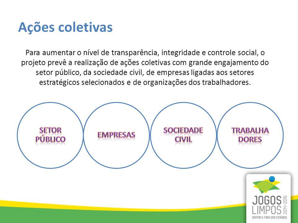 Para aumentar o nível de transparência, integridade e controle social, o projeto prevê a realização de ações coletivas com grande engajamento do setor público, da sociedade civil, de empresas ligadas aos setores estratégicos selecionados e de organizações dos trabalhadores.
