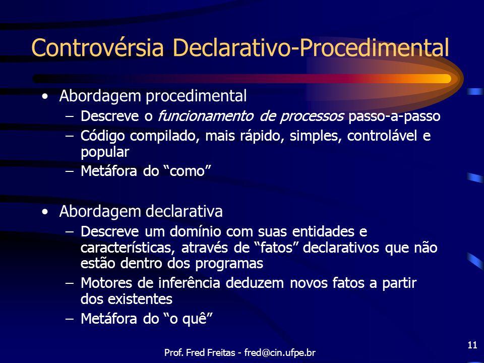 Prof. Fred Freitas - fred@cin.ufpe.br 11 Controvérsia Declarativo-Procedimental Abordagem procedimental –Descreve o funcionamento de processos passo-a
