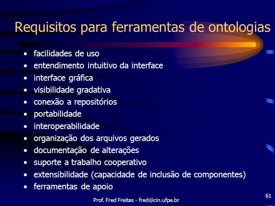 Prof. Fred Freitas - fred@cin.ufpe.br 61 Requisitos para ferramentas de ontologias facilidades de uso entendimento intuitivo da interface interface gr