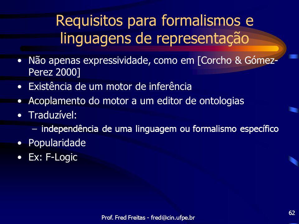Prof. Fred Freitas - fred@cin.ufpe.br 62 Requisitos para formalismos e linguagens de representação Não apenas expressividade, como em [Corcho & Gómez-