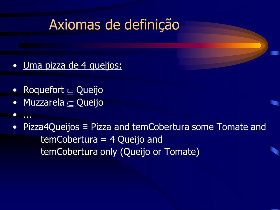 Uma pizza de 4 queijos: Roquefort  Queijo Muzzarela  Queijo... Pizza4Queijos ≡ Pizza and temCobertura some Tomate and temCobertura = 4 Queijo and te