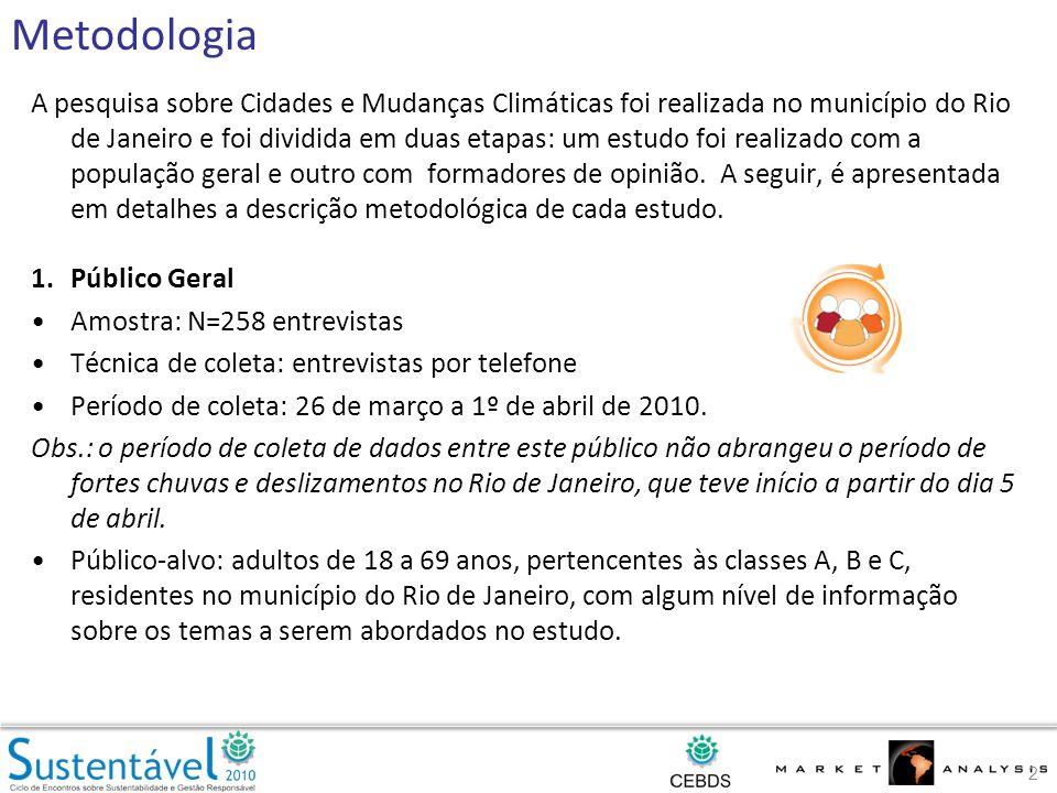 A pesquisa sobre Cidades e Mudanças Climáticas foi realizada no município do Rio de Janeiro e foi dividida em duas etapas: um estudo foi realizado com a população geral e outro com formadores de opinião.