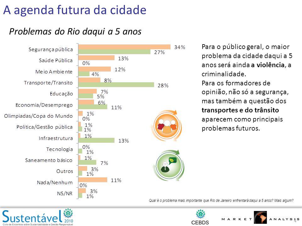 Qual é o problema mais importante que Rio de Janeiro enfrentará daqui a 5 anos.