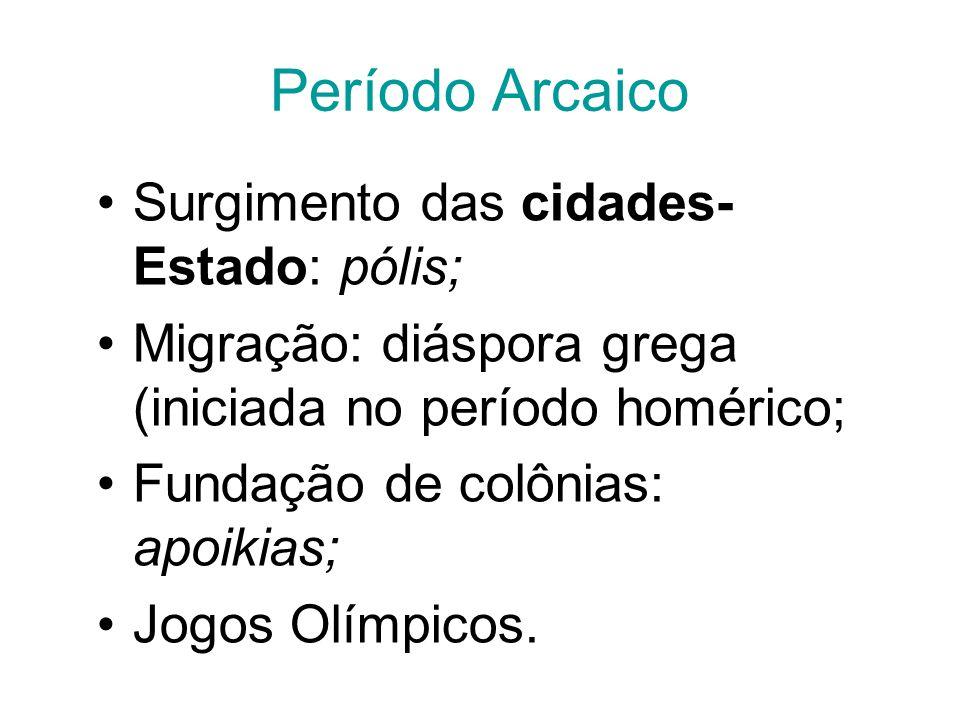 Período Arcaico Surgimento das cidades- Estado: pólis; Migração: diáspora grega (iniciada no período homérico; Fundação de colônias: apoikias; Jogos O