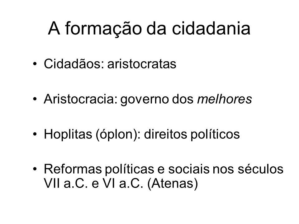 A formação da cidadania Cidadãos: aristocratas Aristocracia: governo dos melhores Hoplitas (óplon): direitos políticos Reformas políticas e sociais no