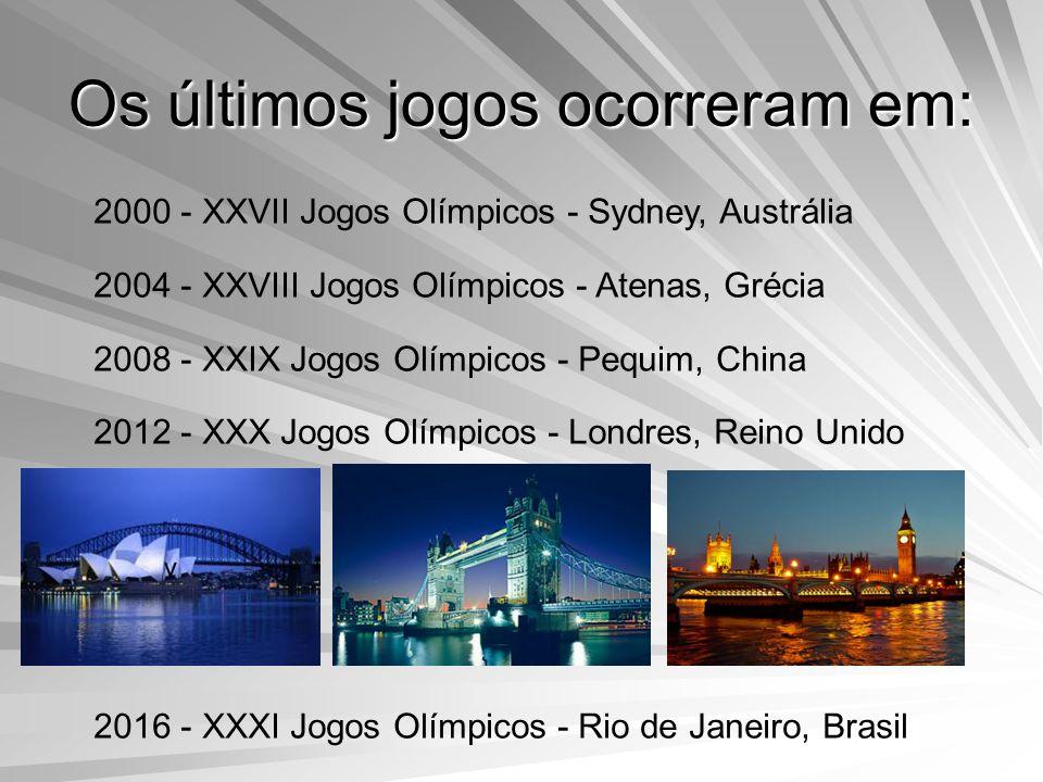 Os últimos jogos ocorreram em: 2000 - XXVII Jogos Olímpicos - Sydney, Austrália 2004 - XXVIII Jogos Olímpicos - Atenas, Grécia 2008 - XXIX Jogos Olímpicos - Pequim, China 2012 - XXX Jogos Olímpicos - Londres, Reino Unido 2016 - XXXI Jogos Olímpicos - Rio de Janeiro, Brasil
