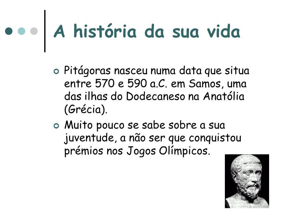 A história da sua vida Pitágoras nasceu numa data que situa entre 570 e 590 a.C. em Samos, uma das ilhas do Dodecaneso na Anatólia (Grécia). Muito pou