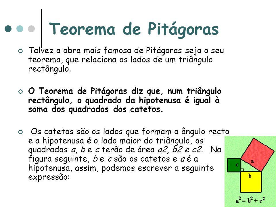 Teorema de Pitágoras Talvez a obra mais famosa de Pitágoras seja o seu teorema, que relaciona os lados de um triângulo rectângulo. O Teorema de Pitágo