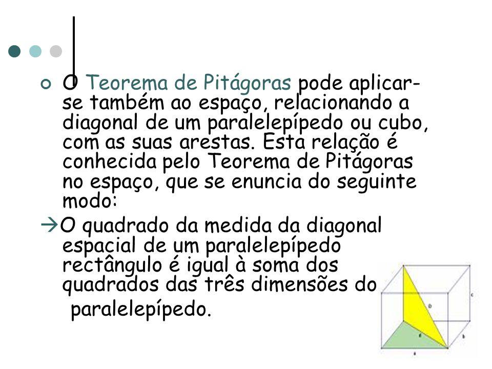 O Teorema de Pitágoras pode aplicar- se também ao espaço, relacionando a diagonal de um paralelepípedo ou cubo, com as suas arestas. Esta relação é co