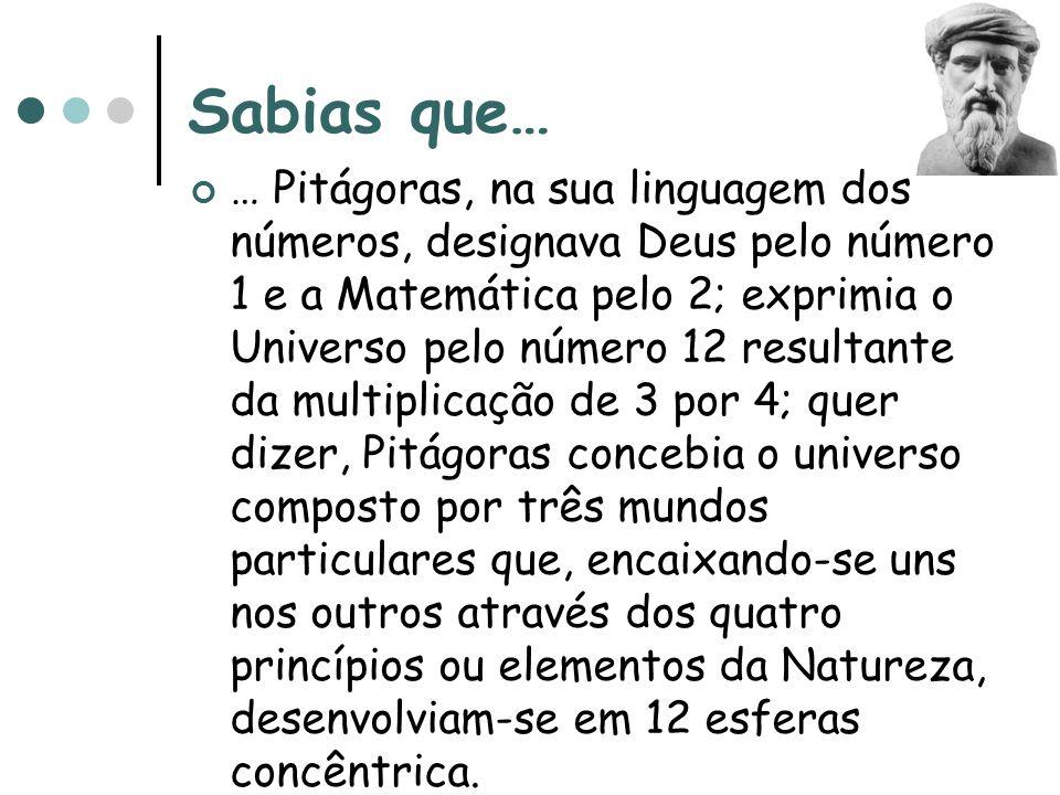 Sabias que… … Pitágoras, na sua linguagem dos números, designava Deus pelo número 1 e a Matemática pelo 2; exprimia o Universo pelo número 12 resultan