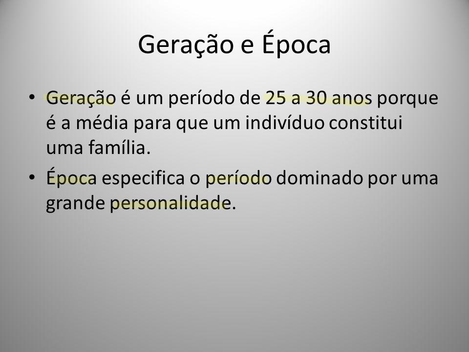 Geração e Época Geração é um período de 25 a 30 anos porque é a média para que um indivíduo constitui uma família. Época especifica o período dominado