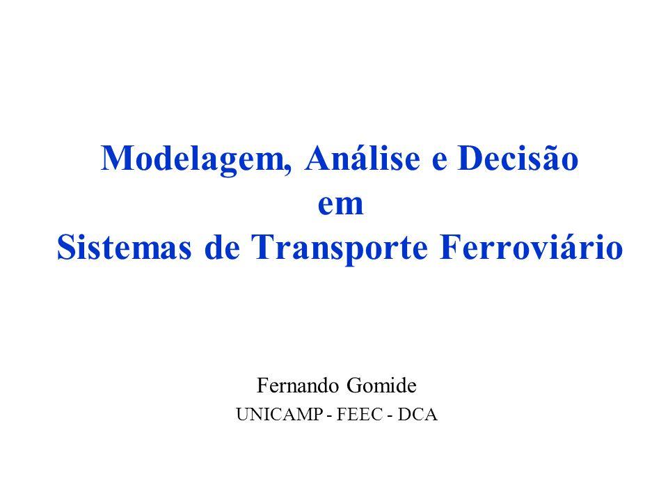Elementos do Modelo de Petersen e Taylor –Linha Ferroviária –Conexões Físicas –Trens –Trens Imaginários –Atividades de Manutenção –Tempos Elementos do Modelo Proposto –Malha Ferroviária –Conexões Físicas –Modelos de Trens –Modelos de Percursos –Modelos de Escalas –Trens –Trens Imaginários –Atividades de Manutenção –Perturbações dos trens