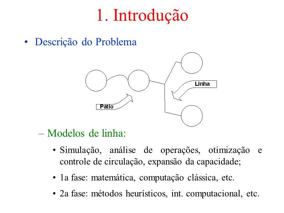 1. Introdução Descrição do Problema –Modelos de linha: Simulação, análise de operações, otimização e controle de circulação, expansão da capacidade; 1