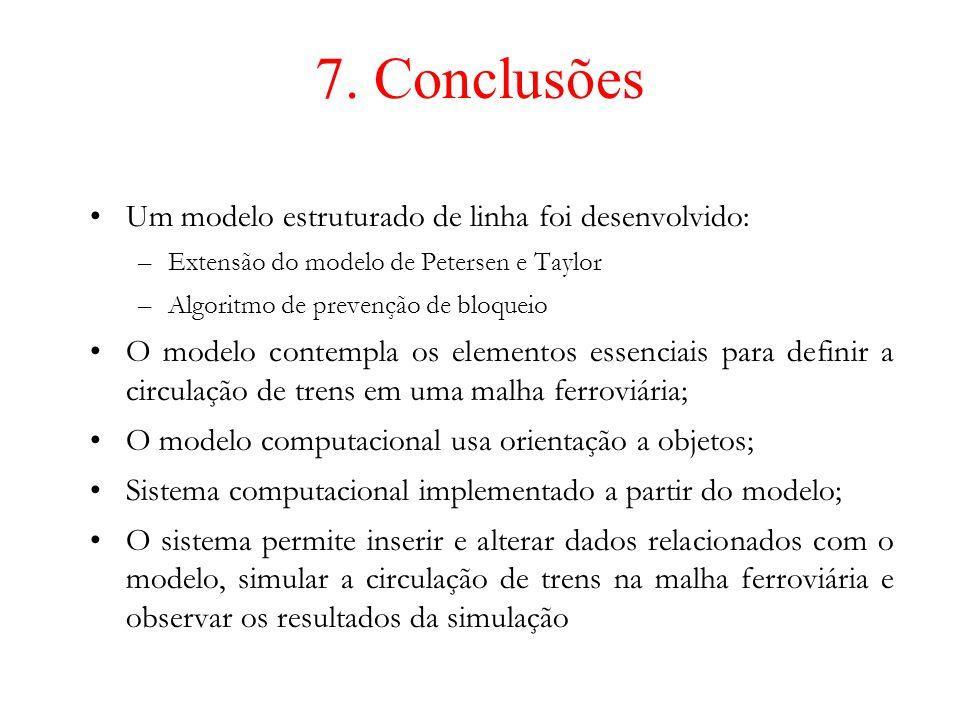 7. Conclusões Um modelo estruturado de linha foi desenvolvido: –Extensão do modelo de Petersen e Taylor –Algoritmo de prevenção de bloqueio O modelo c