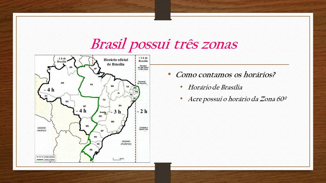 Brasil possui três zonas Como contamos os horários.