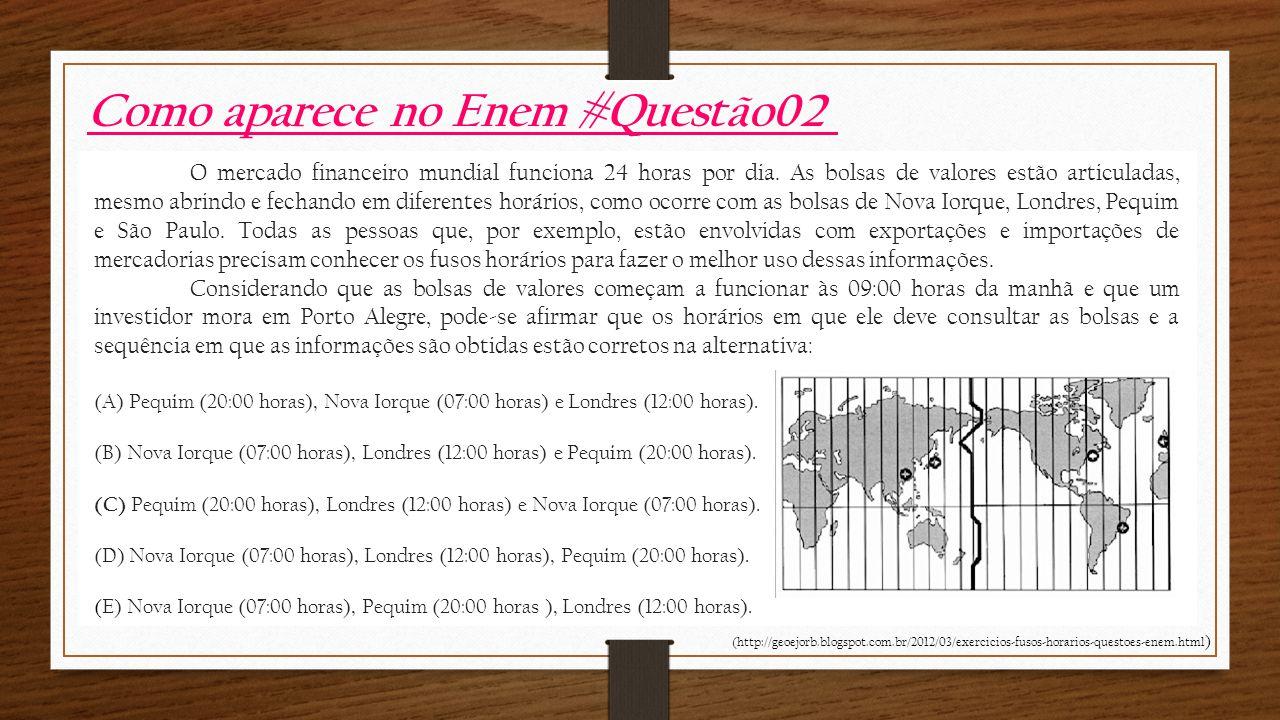 Como aparece no Enem #Questão02 O mercado financeiro mundial funciona 24 horas por dia.