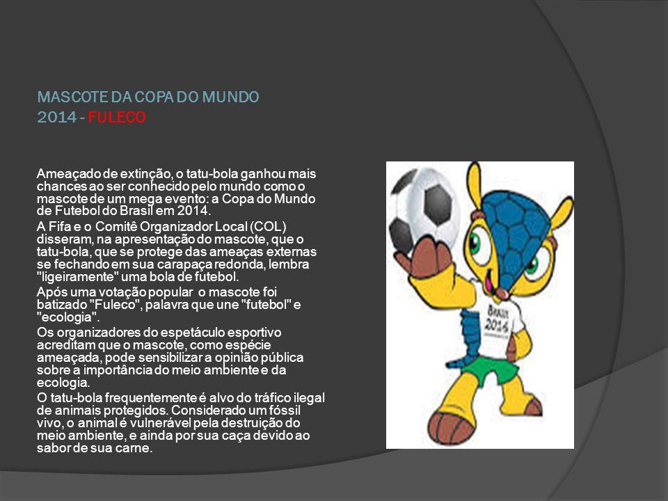 MASCOTE DA COPA DO MUNDO 2014 - FULECO Ameaçado de extinção, o tatu-bola ganhou mais chances ao ser conhecido pelo mundo como o mascote de um mega eve