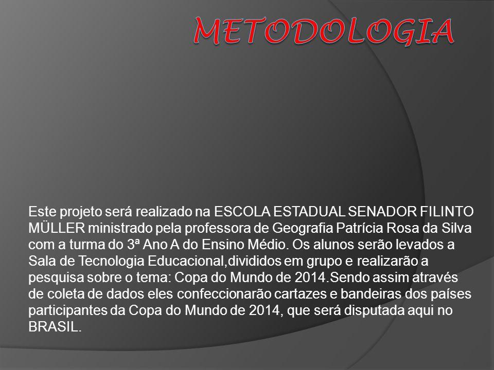 Este projeto será realizado na ESCOLA ESTADUAL SENADOR FILINTO MÜLLER ministrado pela professora de Geografia Patrícia Rosa da Silva com a turma do 3ª