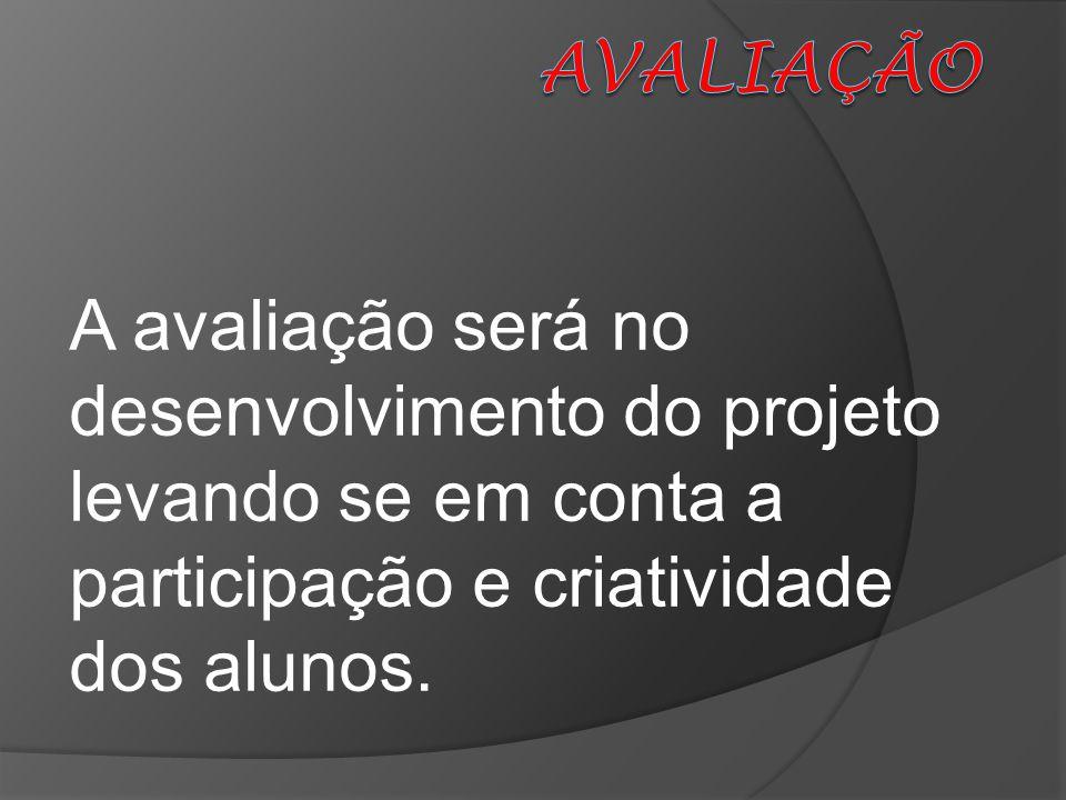 A avaliação será no desenvolvimento do projeto levando se em conta a participação e criatividade dos alunos.