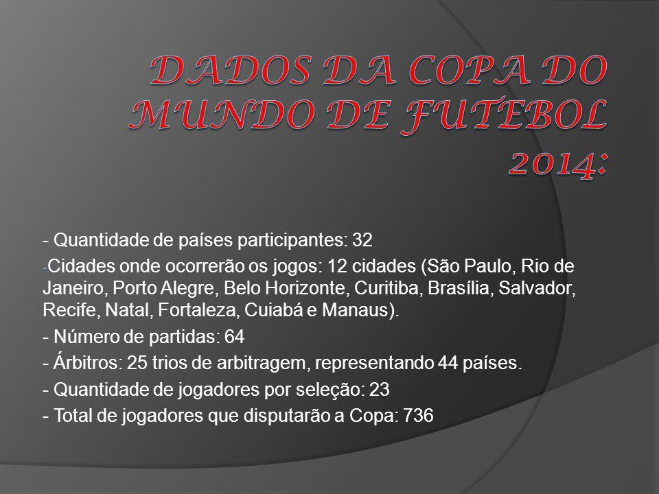 - Quantidade de países participantes: 32 - Cidades onde ocorrerão os jogos: 12 cidades (São Paulo, Rio de Janeiro, Porto Alegre, Belo Horizonte, Curit