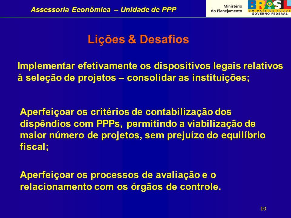 Assessoria Econômica – Unidade de PPP 10 Lições & Desafios Implementar efetivamente os dispositivos legais relativos à seleção de projetos – consolidar as instituições; Aperfeiçoar os processos de avaliação e o relacionamento com os órgãos de controle.