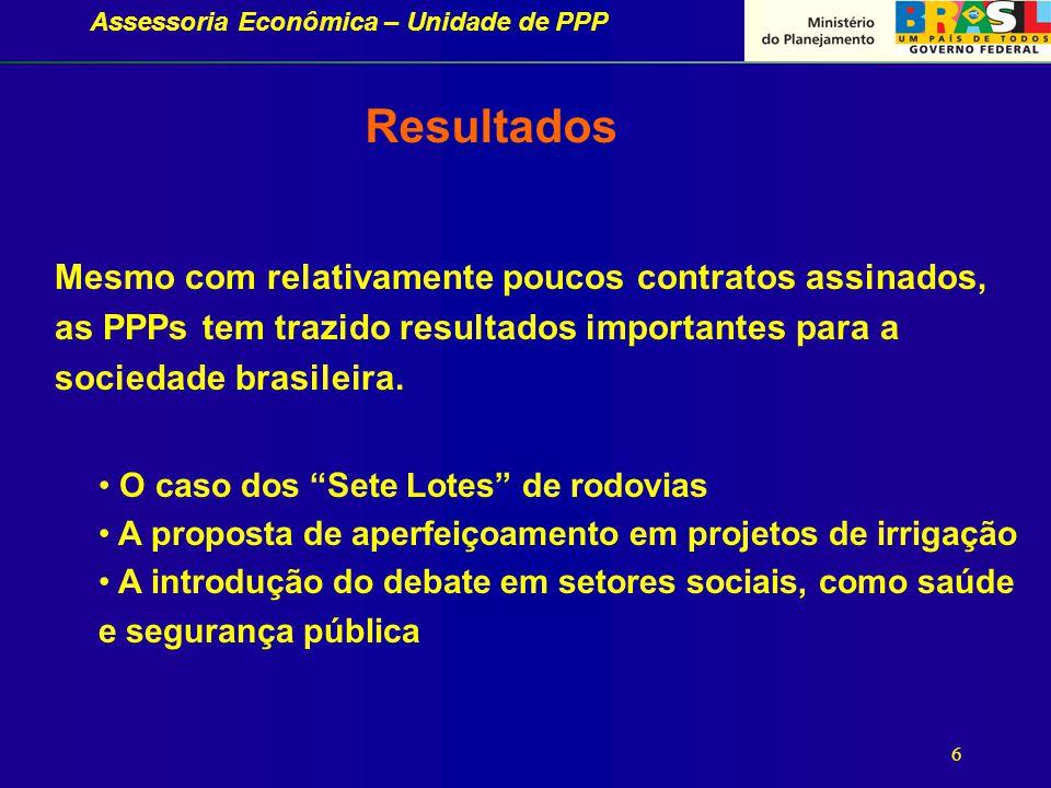 Assessoria Econômica – Unidade de PPP 6 Mesmo com relativamente poucos contratos assinados, as PPPs tem trazido resultados importantes para a sociedade brasileira.