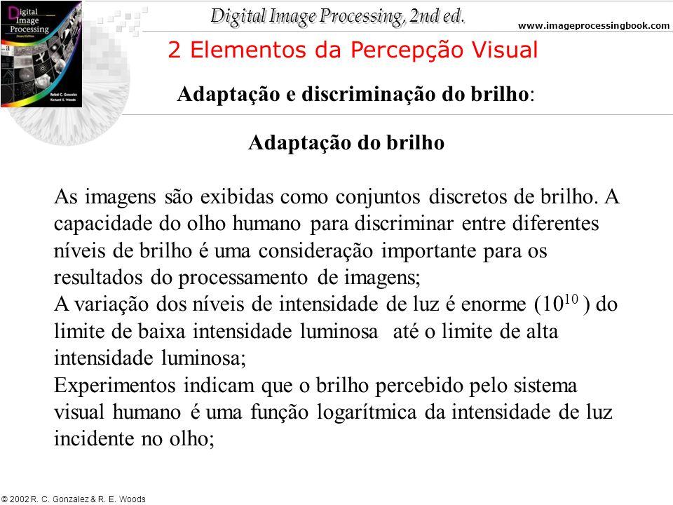 Digital Image Processing, 2nd ed. www.imageprocessingbook.com © 2002 R. C. Gonzalez & R. E. Woods Adaptação do brilho As imagens são exibidas como con