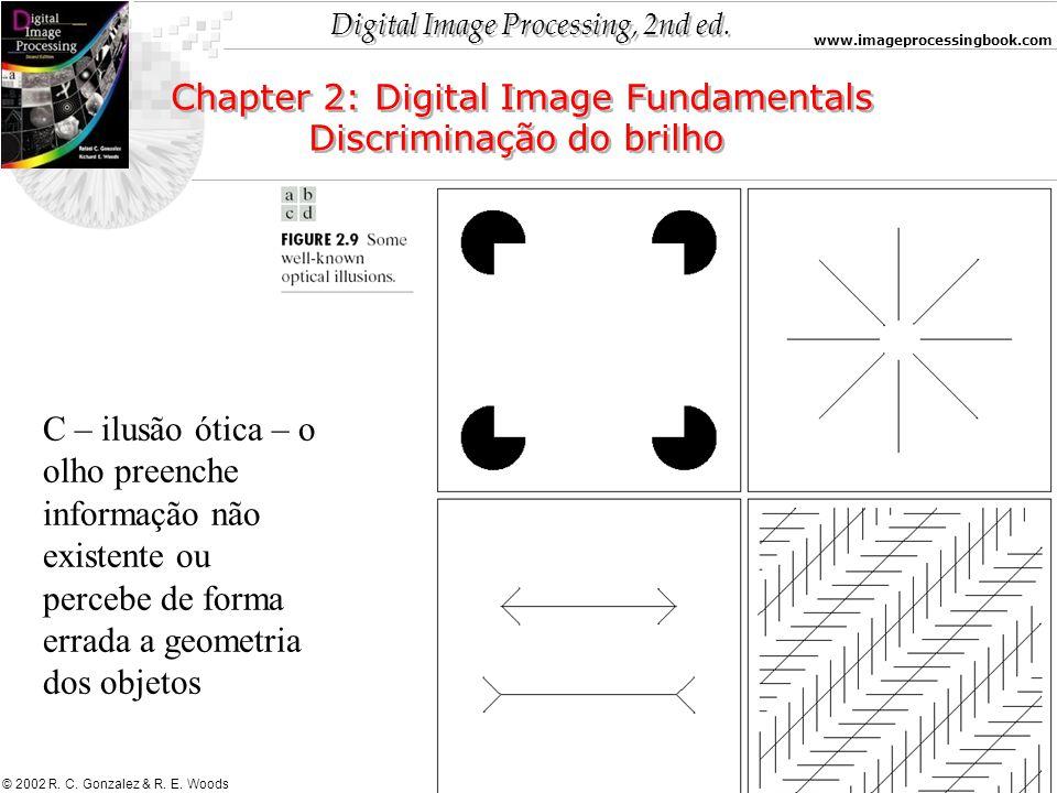 Digital Image Processing, 2nd ed. www.imageprocessingbook.com © 2002 R. C. Gonzalez & R. E. Woods Chapter 2: Digital Image Fundamentals Discriminação