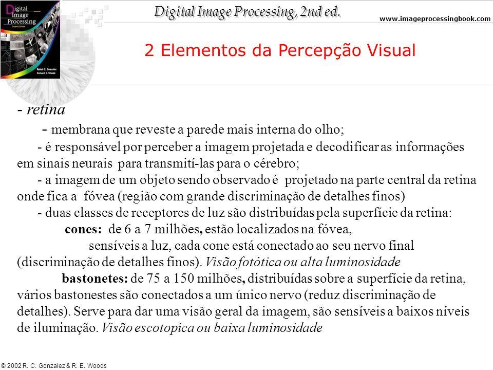 Digital Image Processing, 2nd ed. www.imageprocessingbook.com © 2002 R. C. Gonzalez & R. E. Woods - retina - membrana que reveste a parede mais intern
