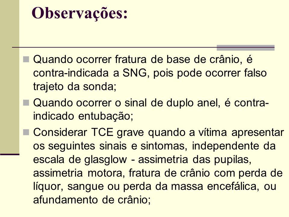 Observações: Quando ocorrer fratura de base de crânio, é contra-indicada a SNG, pois pode ocorrer falso trajeto da sonda; Quando ocorrer o sinal de du